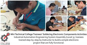 Miri Technical College Trainees' Soldering Electronic Components Activities